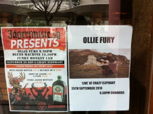 poster for ollie fury concert at crazy elephant in singapore