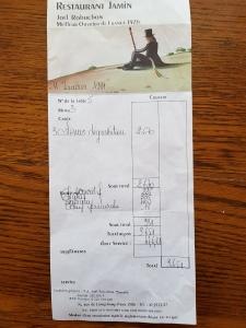 My receipt from Robuchon's Jamin 1991