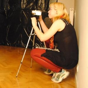"Emily Spurgeon filming ""Les Sentimentaux"""